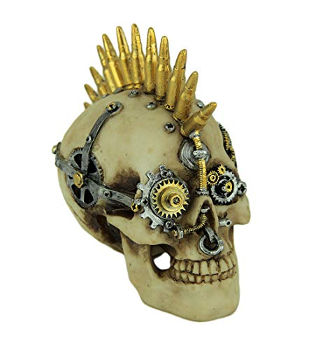 Everspring Steampunk Rock Skull with Bullet Mohawk Statue ()