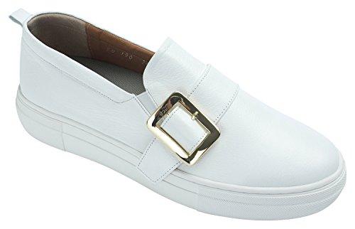 Annakastle Femmes Véritable Cuir Ceinturé Plate-forme Slip-ons Sneaker Blanc