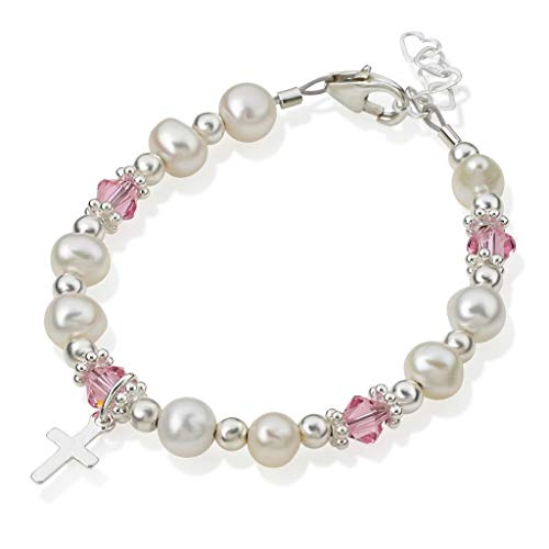 (Christening White Cultured Fresh Water Pearls and Pink Swarovski Crystals with Sterling Silver Cross Luxury Keepsake Infant Girl Bracelet (BFWCP_S))