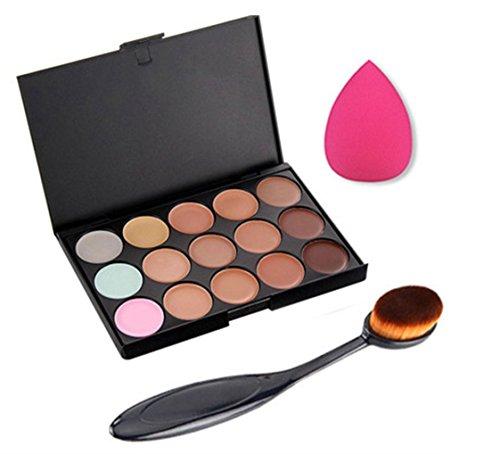 Foreverstore 15 Colors Contour Face Cream Makeup Concealer Palette Kit Face Makeup Contour Cream Puff Sponge Brush
