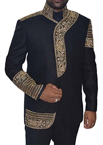 INMONARCH Mens Black Embroidered 3 Pc Jodhpuri Suit Stand Collar Black JO0351CM from INMONARCH