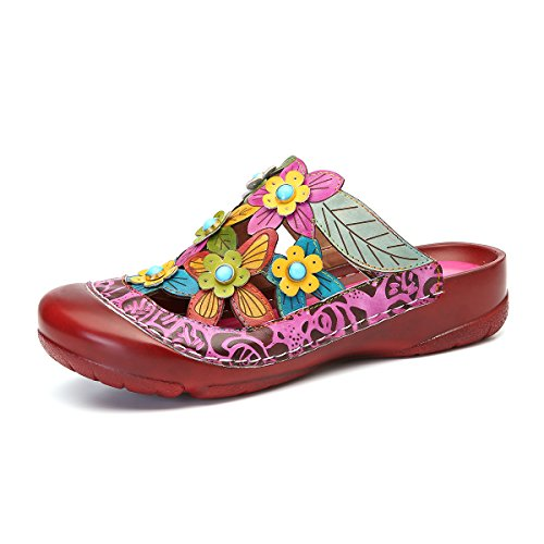Womens Mules Slip-on Shoes Leather Clogs Flats Wallking Slipper Summer Bump Toe Female Sandal Hollow Out Purple