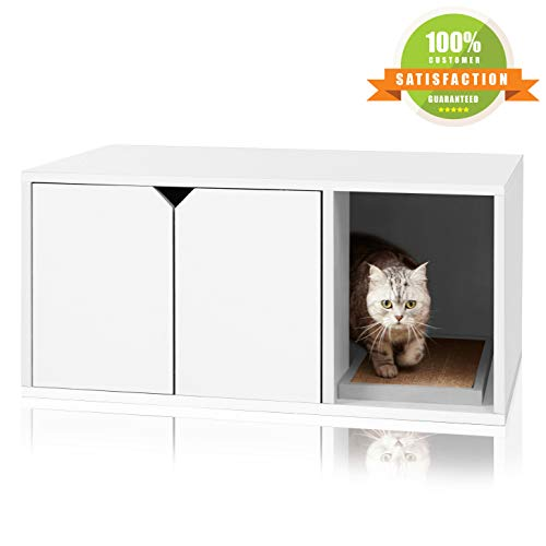 Way Basics Modern Cat Litter Box Enclosure, White (Tool Free Assembly and Sustainably Made from Non Toxic zBoard paperboard)
