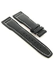 21mm Calf Leather Strap Band for IWC Pilot Black W/S