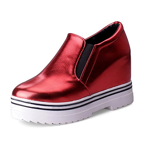 AllhqFashion Damen PU Leder Rein Ziehen auf Rund Zehe Hoher Absatz Pumps Schuhe Rot