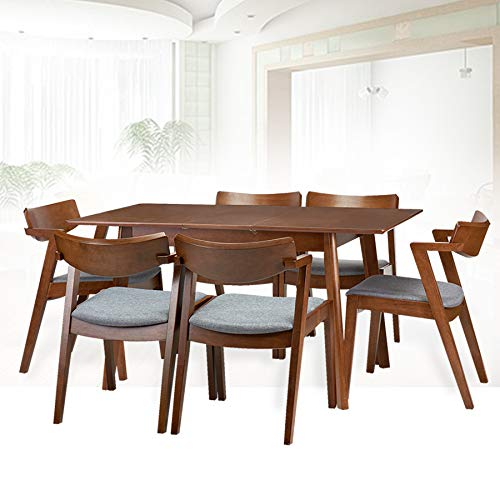 Dining Room Set of 6 Tracy Chairs and Extendable Table Kitchen Modern Solid Wood w/Padded Seat Medium Brown Color with Light Gray Cushion
