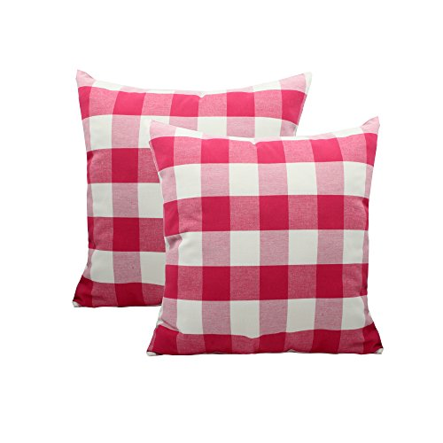 CANIRICA Pack of 2,100% Cotton Buffalo Check Decorative Throw Pillow Covers with Invisible Zipper Retro Checkers Cushion Cases for Sofa Bed 18x18 Inches(Red,45x45cm)