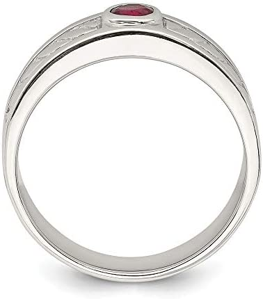 925 Sterling Silver Mens Red Ruby Band Ring Size 11.00 Man Fine Jewellery For Dad Mens Gifts For Him