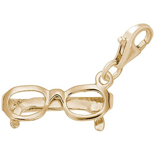 Rembrandt Gold Plated Charms - Rembrandt Charms Eyeglasses Charm with Lobster Clasp, Gold Plated Silver