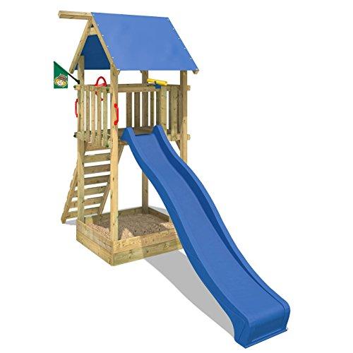 WICKEY Kletterturm Smart Tower Spielturm Holzspielgerät mit Rutsche Sandkasten (blaue Dachplane / blaue Rutsche)