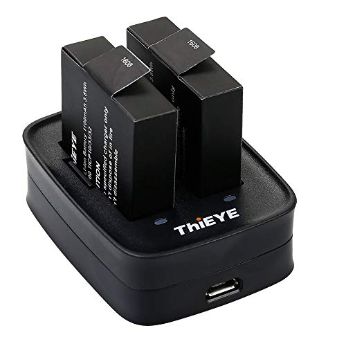 ThiEYE Rechargeable Battery 1100mAH (2 Pack)+ Rapid Dual Charger for T5e/E7/T5 Edge Action Camera