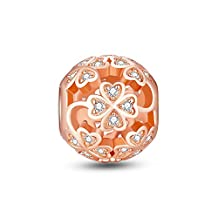 Glamulet Jewelry Women's 925 Sterling Silver Four Leaf Clover Rose Gold Charm Fits Pandora Bracelet