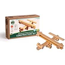Varis 11 Piece Airplane - Traditional ALL Wood Log Construction Toy (Made in Latvia)