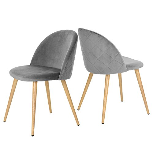 GreenForest Velvet Dining Chairs for Living Room, Modern Accent Leisure Upholstered Chairs Mid Century, Side Chairs Metal Legs with Wood Pattern, Mid-Back Support Pink Chairs, Set of 2 Gray