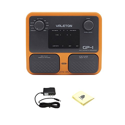 Valeton GP-1 Multi Effects Processor Combining Drum Patterns and Looper Complete Feature Set with Power Supply and Polishing Cloth