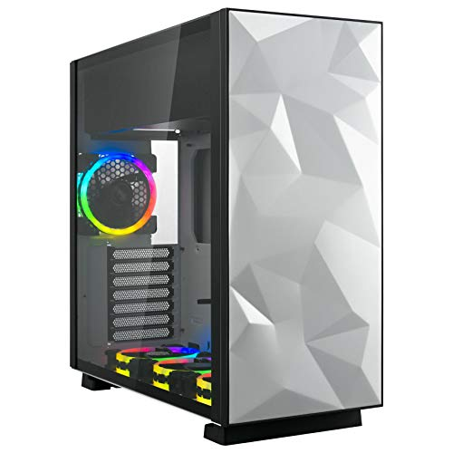 Rosewill ATX Mid Tower Gaming Computer Case with Tempered Glass and RGB Fans, Up to 240mm AIO and 440mm VGA Support, Sync with ASUS, MSI, and GIGABYTE MOBO, Top Mount PSU & HDD/SSD - Prism S
