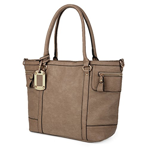 UTO Women Tote Bag PU Leather Handbag Large Capacity Shoulder Bags Mud Color - Large Single Compartment Tote Handbag