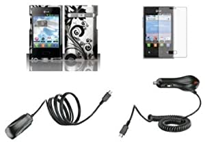 Cerhinu LG Optimus Logic L35G / Dynamic L38C - Bundle Pack - Black Orchid Vines on Silver Design Case + Atom LED Keychain...