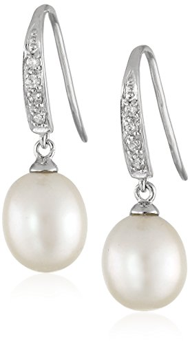 Bella Pearl Dangling Cubic Zirconia Pearl Shepherd Hook Drop -