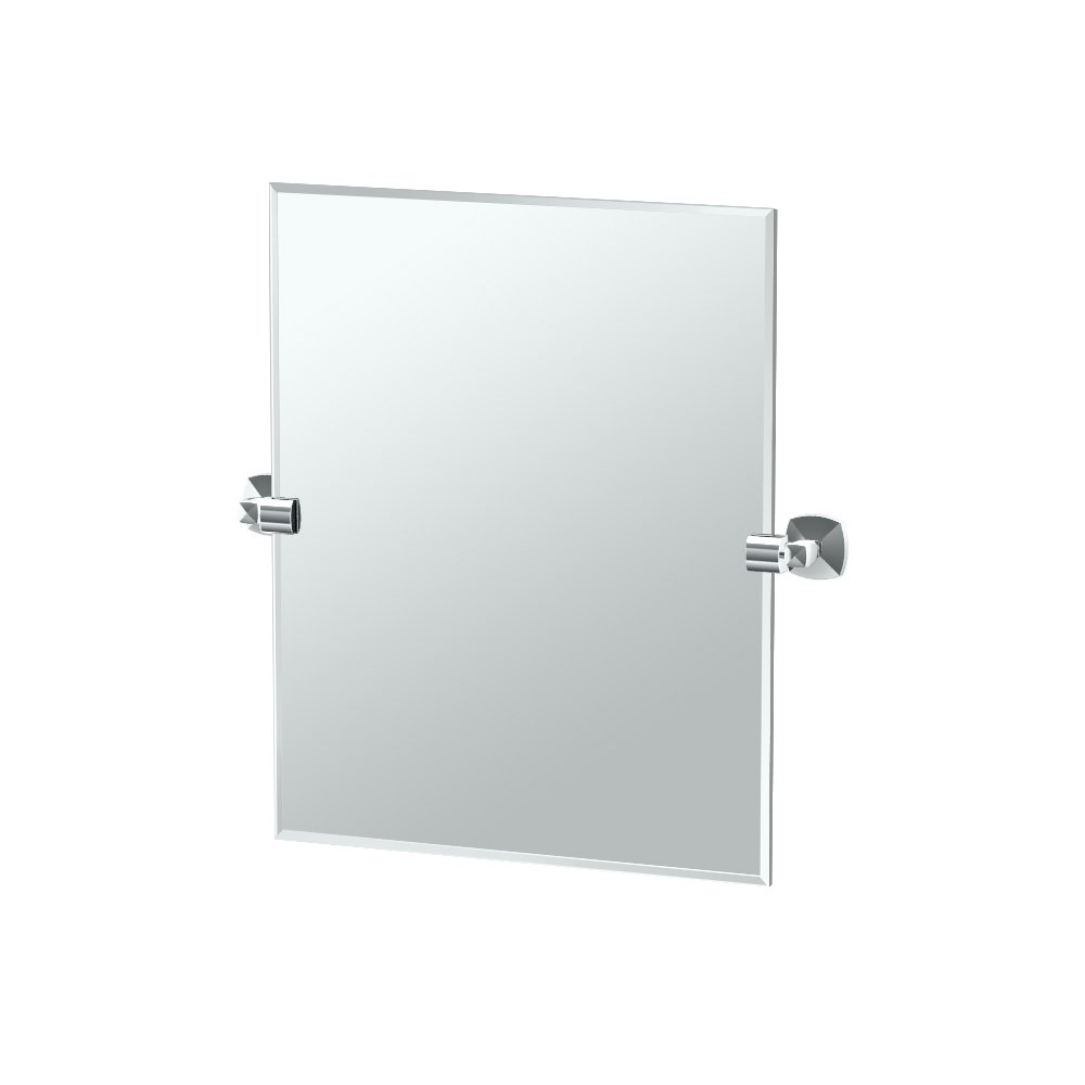 Gatco 4159SM Jewel Frameless Rectangle Mirror, Satin Nickel, 24