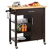 kealive Rolling Kitchen Island on Wheels with Natural Wood Top, Kitchen Cart with Storage Cabinet Drawer Towel Rack by Home Style, Espresso 34.7L x 18.5W x 36H