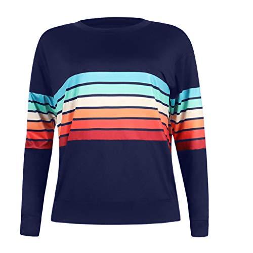 〓COOlCCI〓Women's Casual Round Neck Color Stripe Long Sleeve Sweatshirt T-Shirts Tops Blouse Pullover Hooded Sweatshirt Dark Blue ()