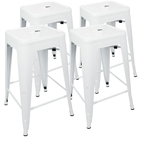 """UrbanMod 24"""" Metal Bar Stool by White Counter Stools Set Of 4 - Tolix Stool Chairs – White Bar Stools for Indoor/Outdoor, Kitchen Counter Height and Island – Stackable, Industrial, ()"""