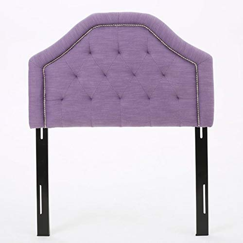 Upholstered Panel Headboard, Button Tufted Design, Contemporary Bedroom Furniture … (Twin, Light Purple)