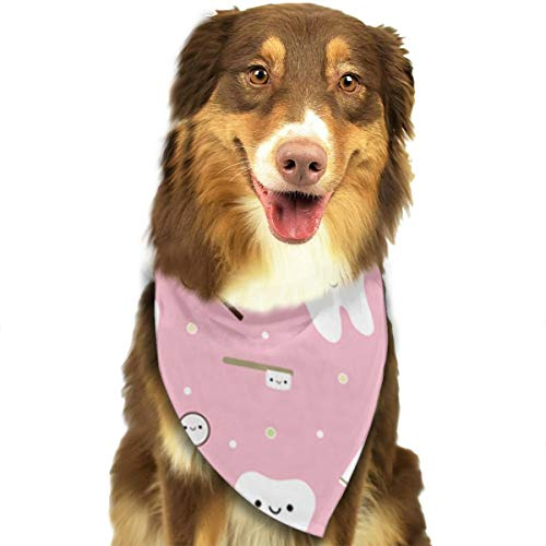 TLDRZD Pink Dental Fabric Toothpaste Dog Bandanas - Washable and Reversible Triangle Cotton Dog Bibs Scarf Assortment Suitable for Puppy Small and Medium Pet ()