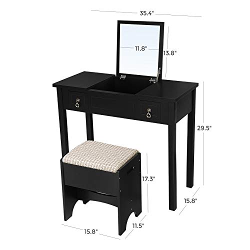 b004642eeddd2 VASAGLE Vanity Set with Flip Top Mirror Makeup Dressing Table ...