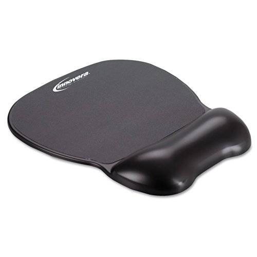 Innovera Gel Mouse Pad with Wrist Rest, Nonskid Base, 9 X 7.5 - Inches Black (51450) (Gel Wrist Pad Black Fabric)