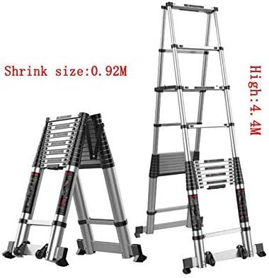 MLMHLMR Escalera en Espiga de la Familia de la Escalera telescópica Que engrana la aleación de Aluminio Engrosada de la Escalera de Dos Caras Taburete (Size : 4.4M): Amazon.es: Hogar