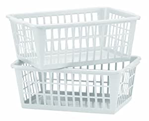 United Solutions BS0012-Two Mini Storage Baskets in White-Set of 2 White Baskets Designed to Organize-Ideal for Deep Drawer and Shelf Storage