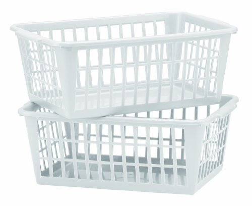 United Solutions BS0012-Two Mini Storage Baskets in White-Set of 2 White Baskets Designed to Organize-Ideal for Deep Drawer and Shelf Storage (Vinyl Storage Basket)