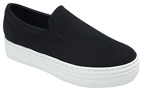 Sweet Holic AnnaKastle Womens Casual Slip-Ons Platform Sneakers (US 7.5, Black Canvas) (Canvas Platform)