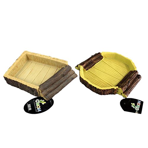 MagiDeal 2Pcs Resin Reptile Feeding Bowl Vivarium Food Water Worm Mealworm Dish Tray Pet Tortoise Gecko Snakes by MagiDeal