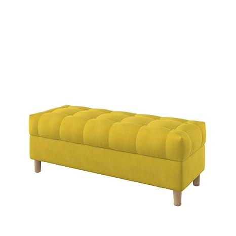 Furninero - 120 cm de Ancho, Banco de Almacenamiento Tipo otomano tapizado capitoné con Botones, Patas Redondeadas, Majestic Velvet Yellow Tela, ...