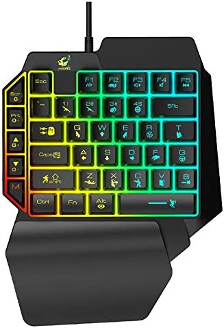 片手用ゲーミングキーボード片手用キーボードガンゲームコンソールPC向けのカラーバックライト付きエルゴノミックキーボード,A