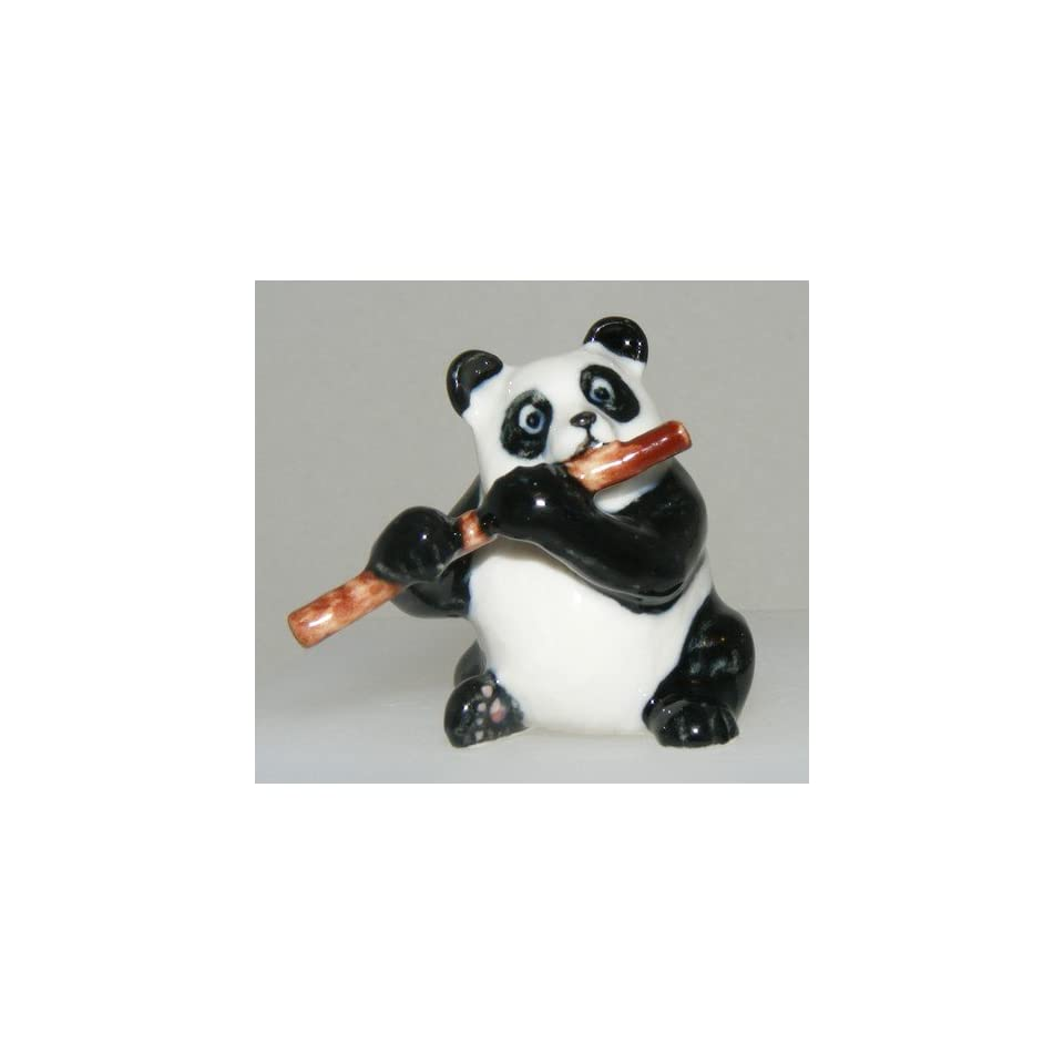Panda Bear plays the FLUTE in a Panda Band MINIATURE Porcelain New FIGURINE Klima L060A
