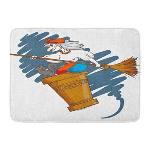 Emvency Doormats Bath Rugs Outdoor/Indoor Door Mat Baba Yaga Flying in Mortar Cat and Broomstick The Night Russian Granny Witch Halloween Cartoon Bathroom Decor Rug Bath Mat 16
