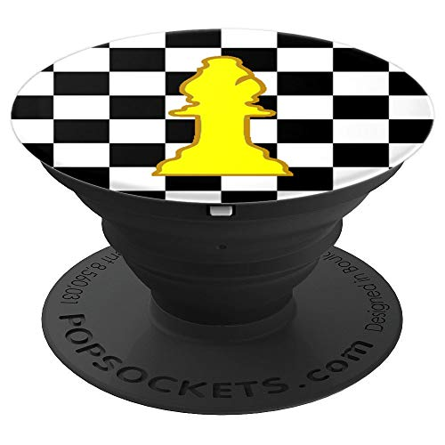 Chessman Bishop Chess Piece With Chess Board Game Background - PopSockets Grip and Stand for Phones and Tablets