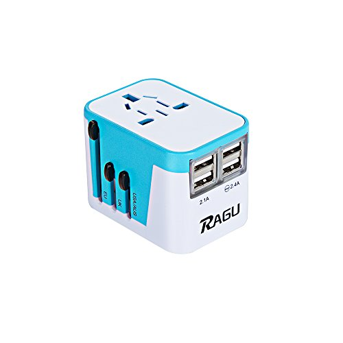 RAGU International Travel Adapter Wall Charger 4 USB Charging Ports & 8-Hole Socket / Worldwide Plugs (US/JP UK EU AU/CN) with Safety Fuse and Surge Protector