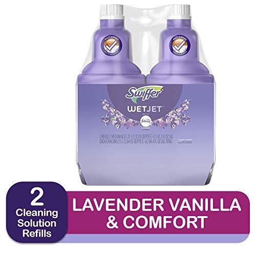 Swiffer Wetjet Spray Mop Floor Cleaner Multi-Purpose Solution Febreze Lavender & Vanilla Comfort Scent 2 Pack Of 42.2 Oz Each,swiffer