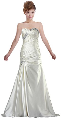 ANTS Women's Charming A-Line Sweetheart Long Prom Dress Taffeta Beaded Evening Gown Size 8 US White