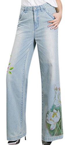 Lingswallow Women's Vintage Floral Printed Jeans Straight Leg Blue Denim Pants