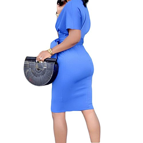 Business Sleeve Bodycon Work Wear with Retro Pencil to Belt Women's Dress Short Molisry qwfptHzz
