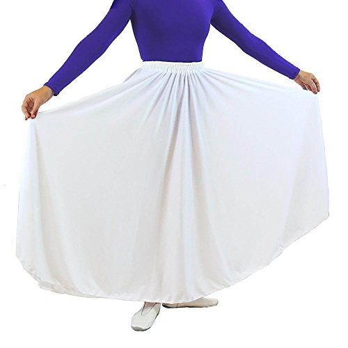 Danzcue Womens Long Full Circle Dance Skirt, White, S/M