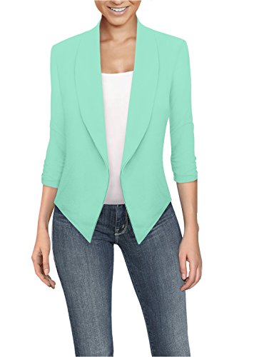 Womens Casual Work Office Open Front Blazer JK1133X Mint 2X