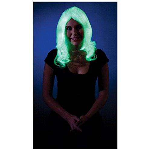 Glow in the Dark Curled Wig Costume -