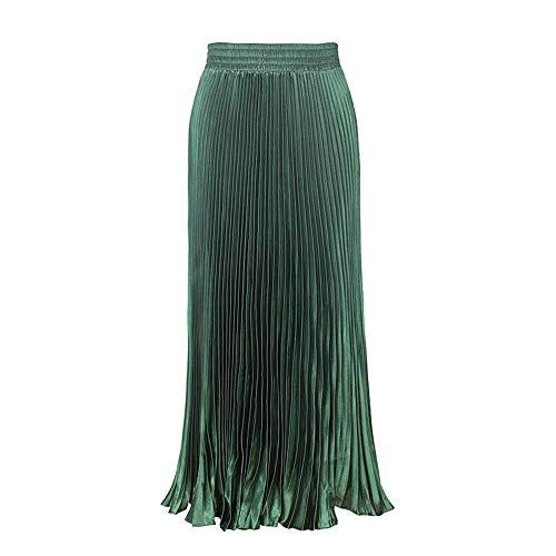 Morbuy Jupe Femme Longue Taille Elastique Jupe d'organe A-Ligne Casual lgante Brillant Mtallique Pliss Jupe Vert Fonc